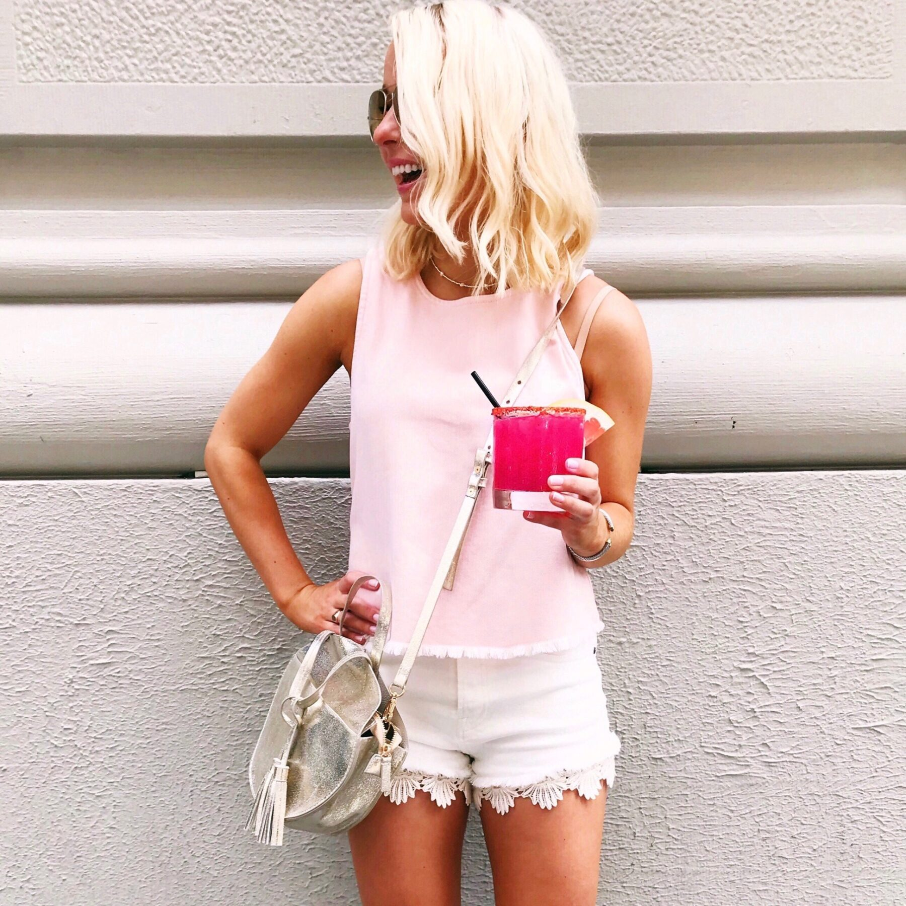 Pink Aerie tank top and lace jean shorts