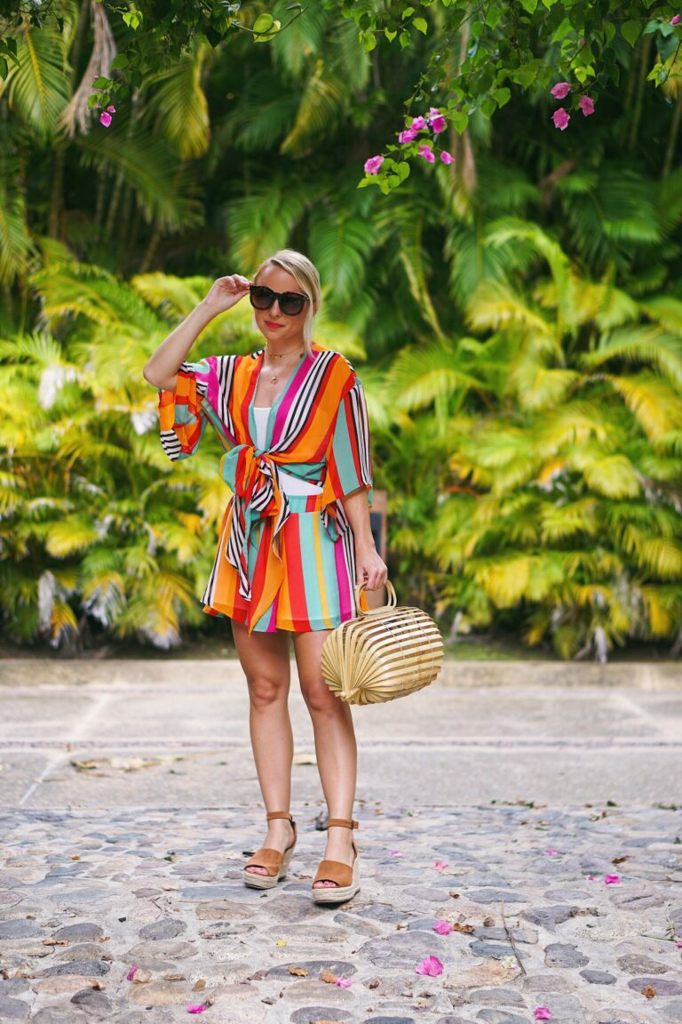 Red Dress Boutique tropical two piece set in Punta Mita, Mexico