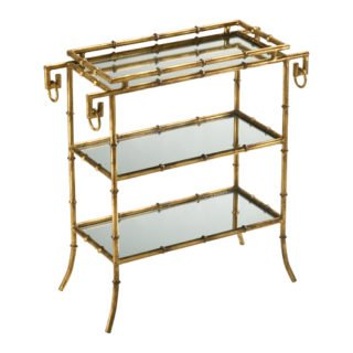 Mirrored gold bamboo tray table bar cart holiday gift guide