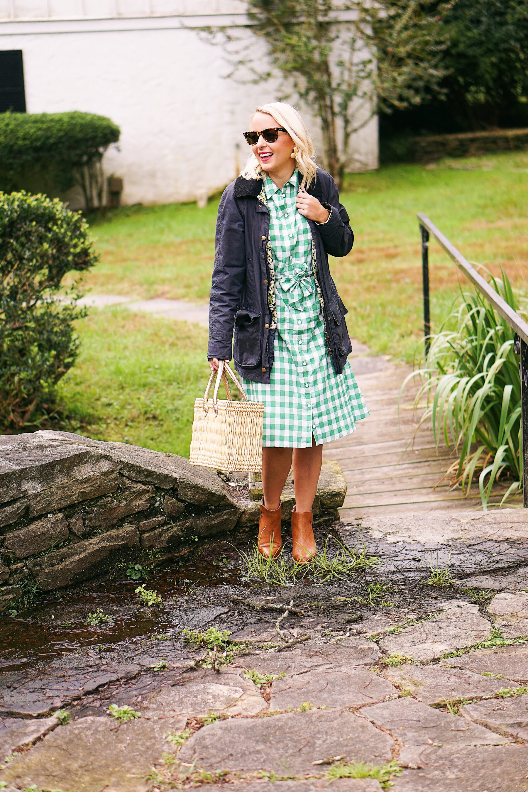 August Morgan gingham dress and Barbour Beadnell coat