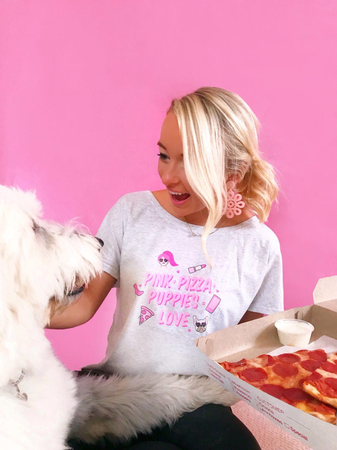 """""""Pink, Puppies, Pizza"""" Scoop Neck Tee"""