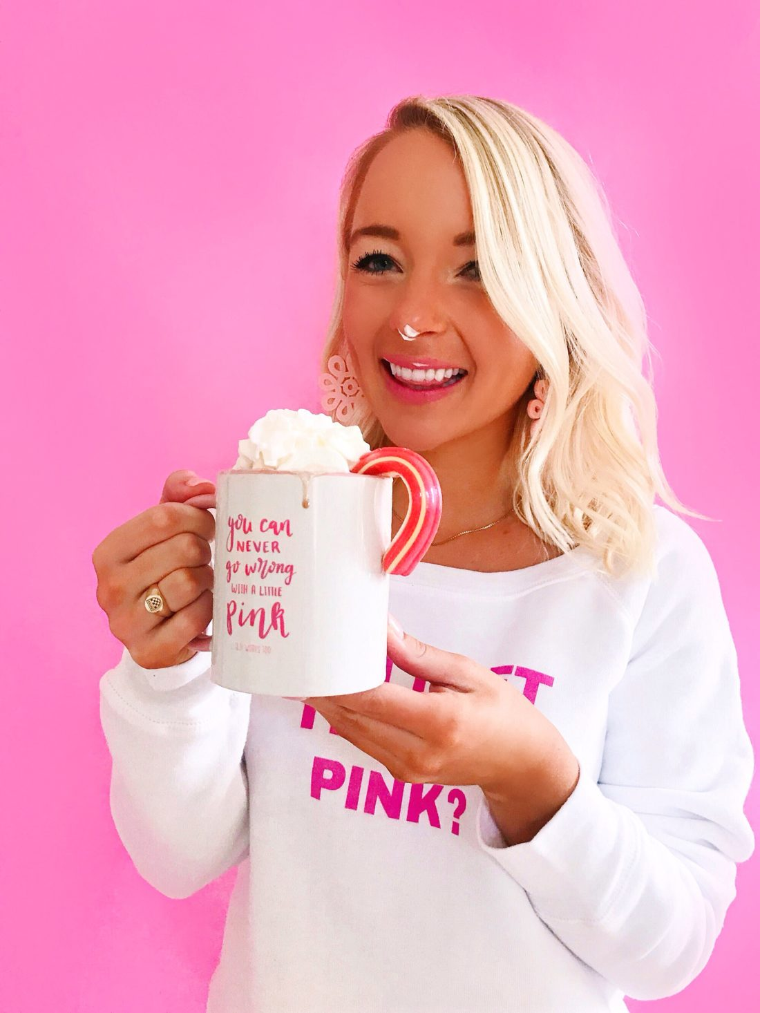 """""""You Can Never Go Wrong With A Little Pink"""" Mug With Pink Handle"""
