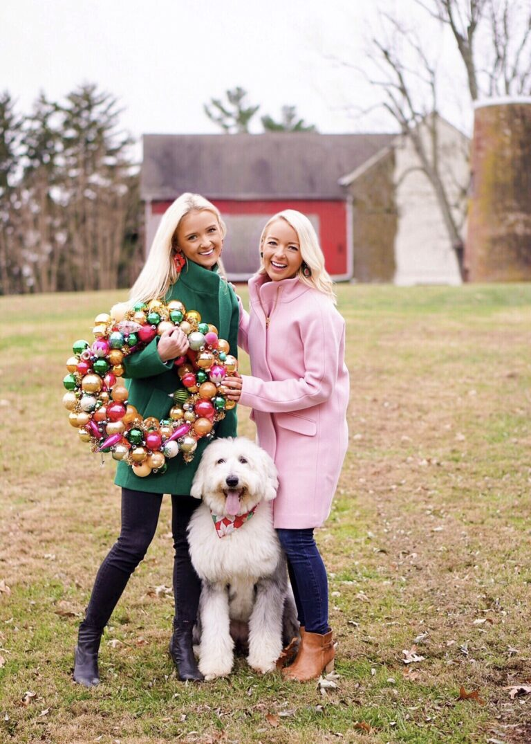 Pink and green J. Crew coat Christmas card ideas