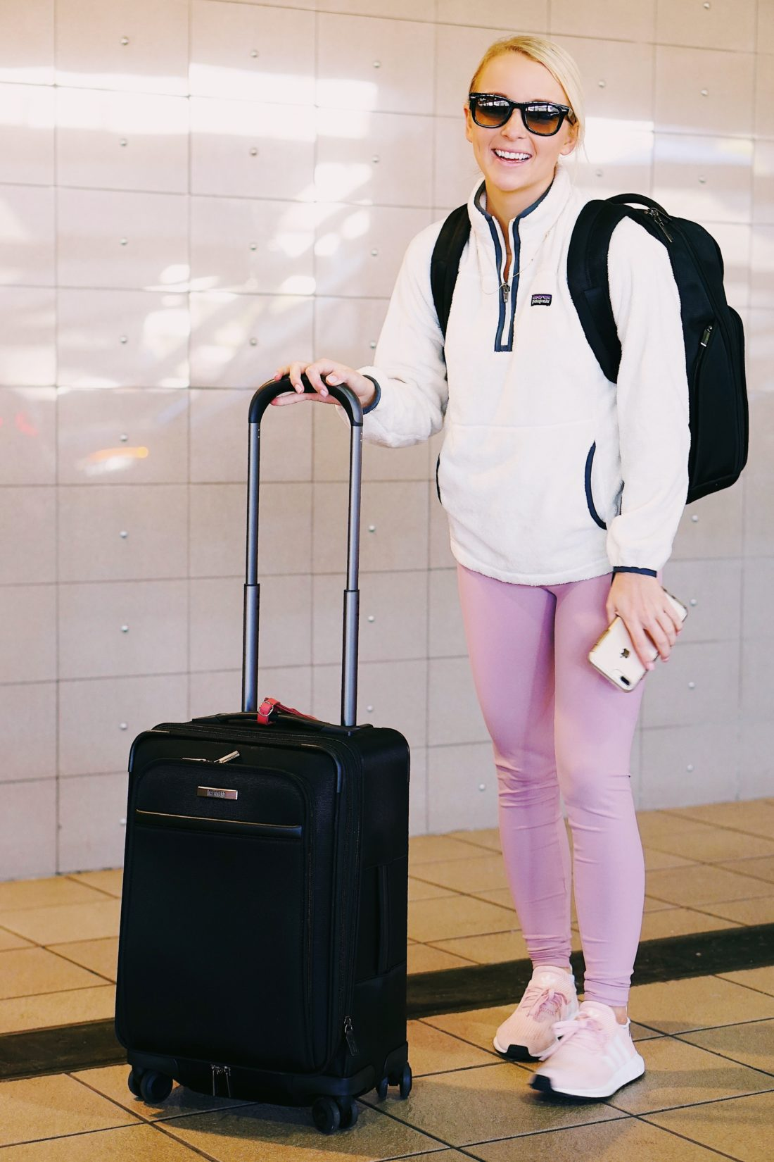 Hartmann carry-on luggage and Addison Bay leggings