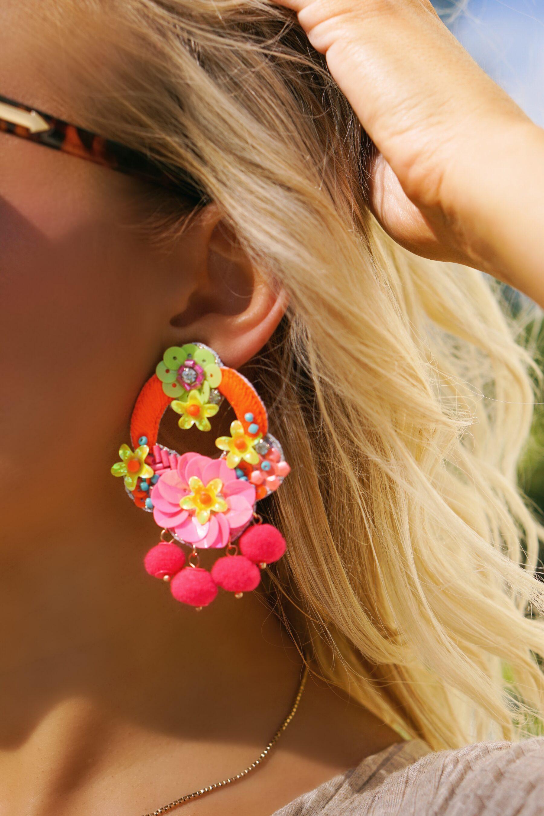 Francesca's pom pom statement earrings