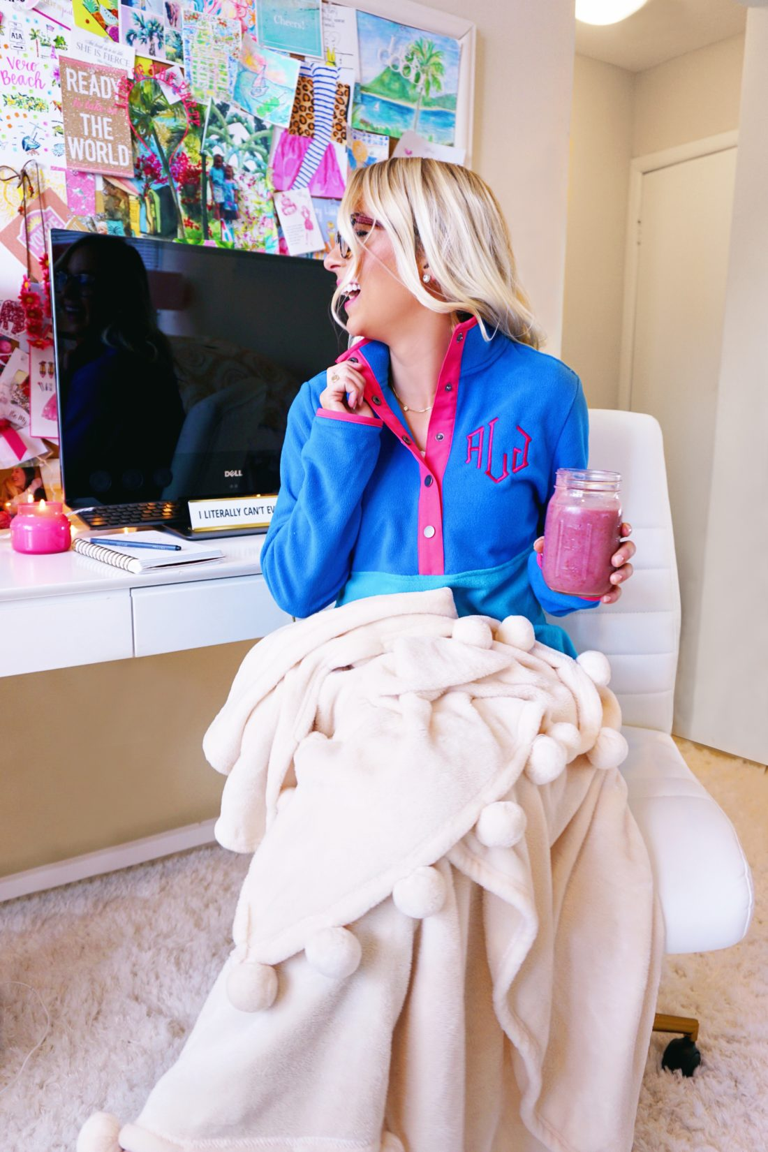Monogrammed fleece pullover from Marleylilly