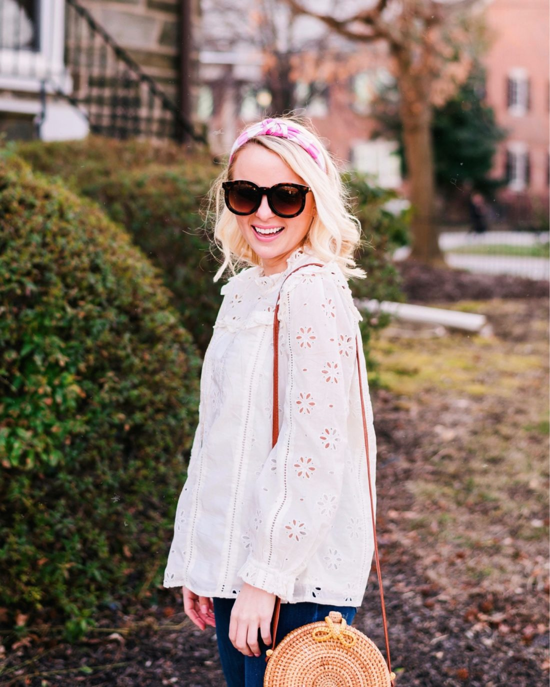 J. Crew eyelet top and gingham headband with rattan bag