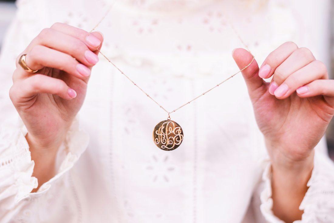 Gold monogram disk necklace