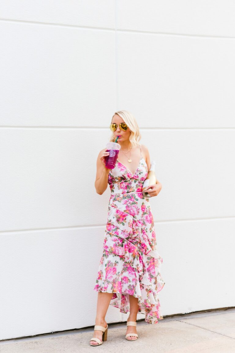Shopbop floral dress and rattan heeels with gold glitter One Hope champagne