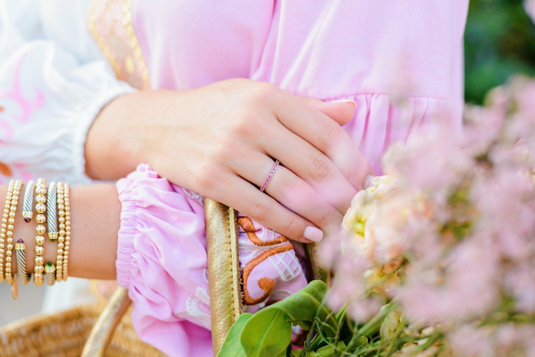 Hattie Banks custom pink sapphire ring
