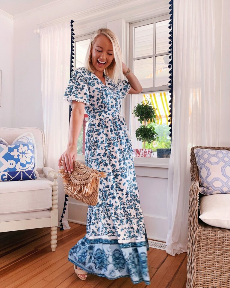 Floral Shein butterfly maxi dress with Jane Winchester pendant necklace