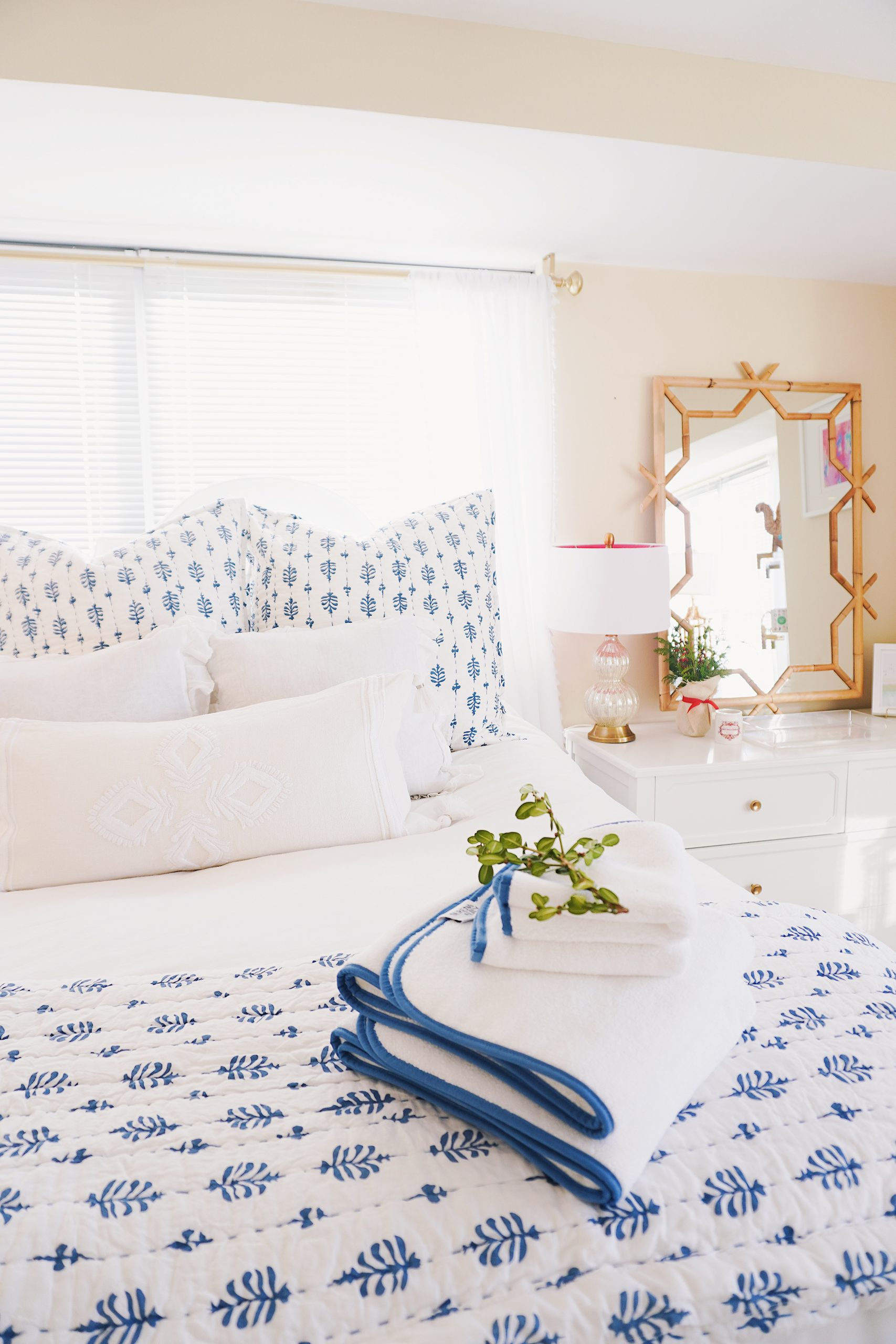 Serena & Lily blue and white apartment bedroom update