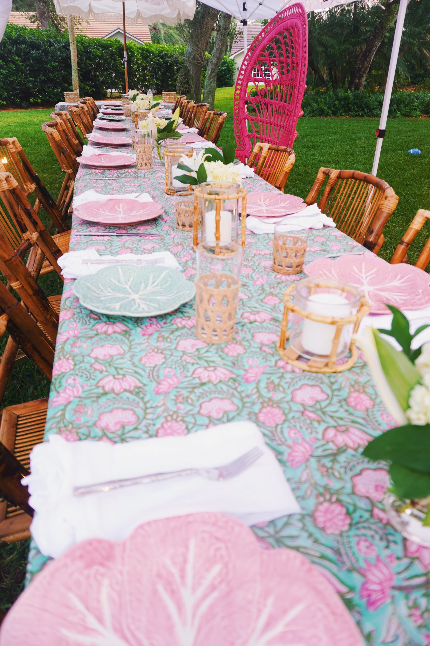 Vero Beach, Florida outdoor dinner party with block print tablecloth