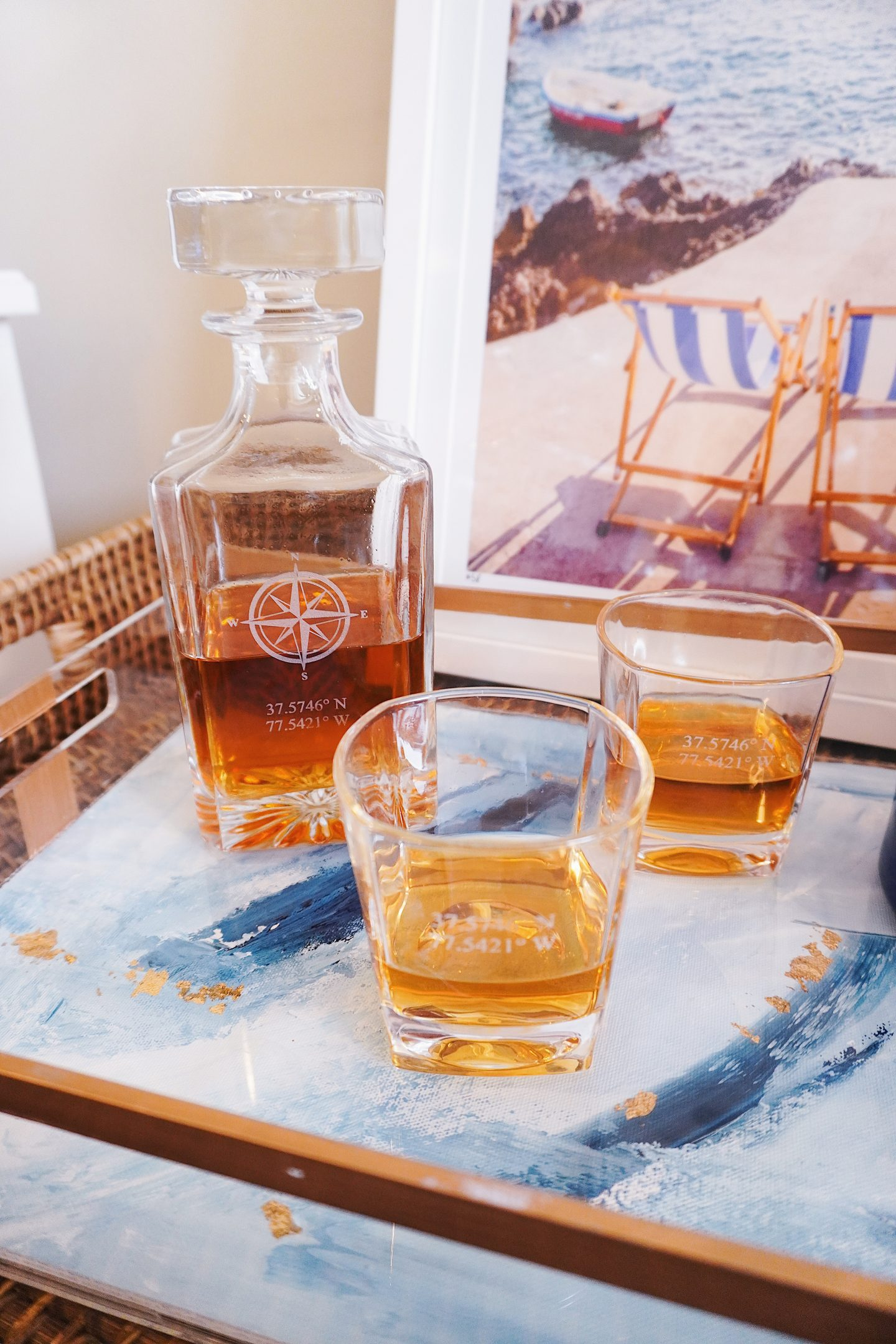 Grain and Oak personalized whiskey decanter set for men's Valentine's Day gift