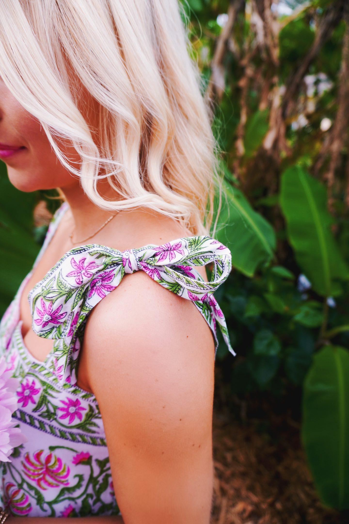 Juliet Dunn block print cotton tie dress in Vero Beach, FL
