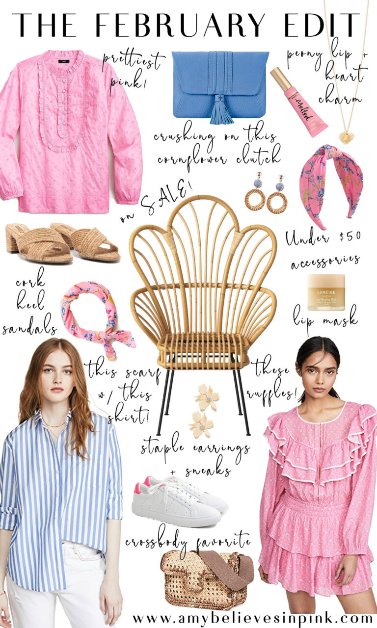The February Edit, Spring 2020 style roundup with peony pink and cornflower blue and a rattan chair