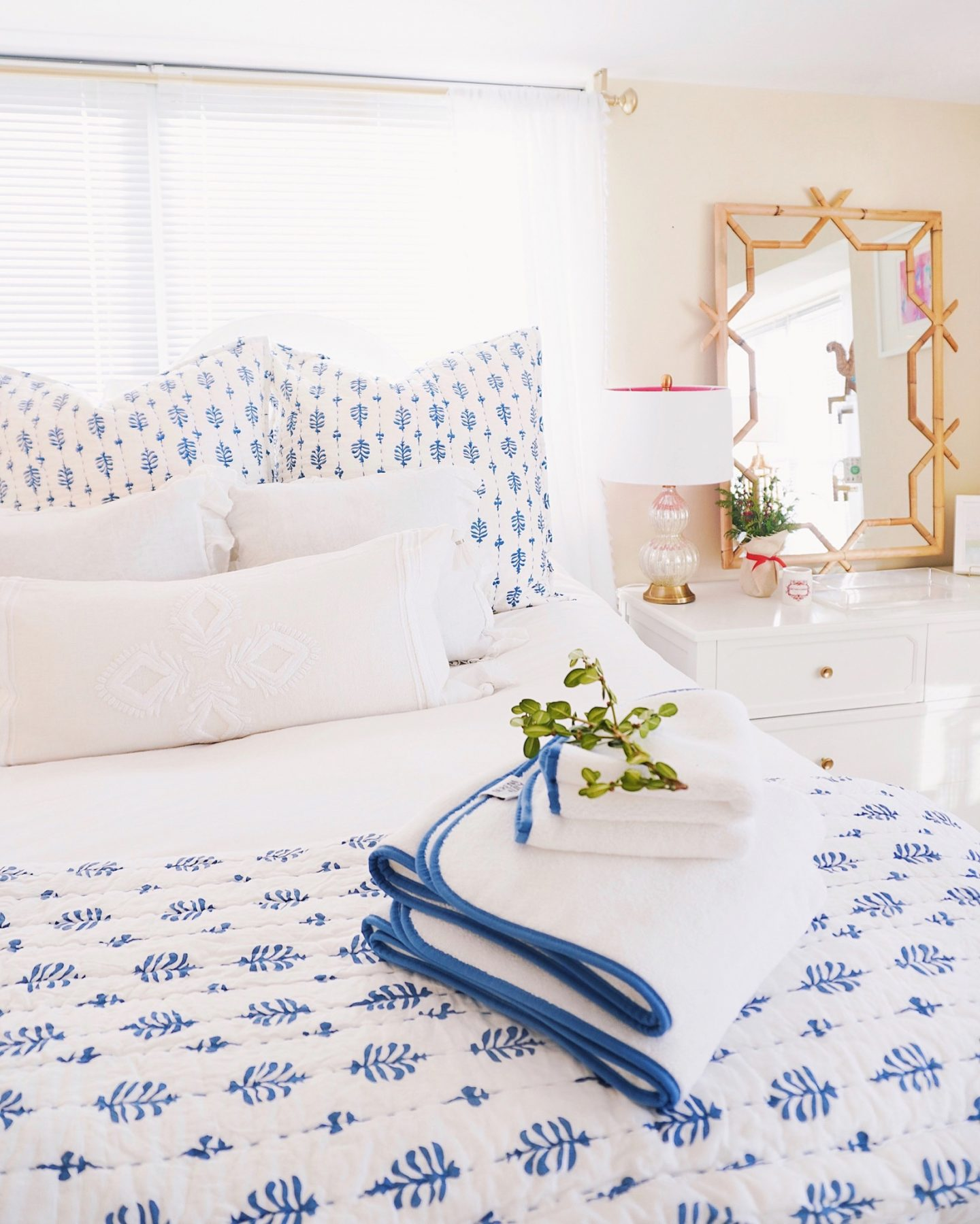 Blue and white Serena and Lily bedroom