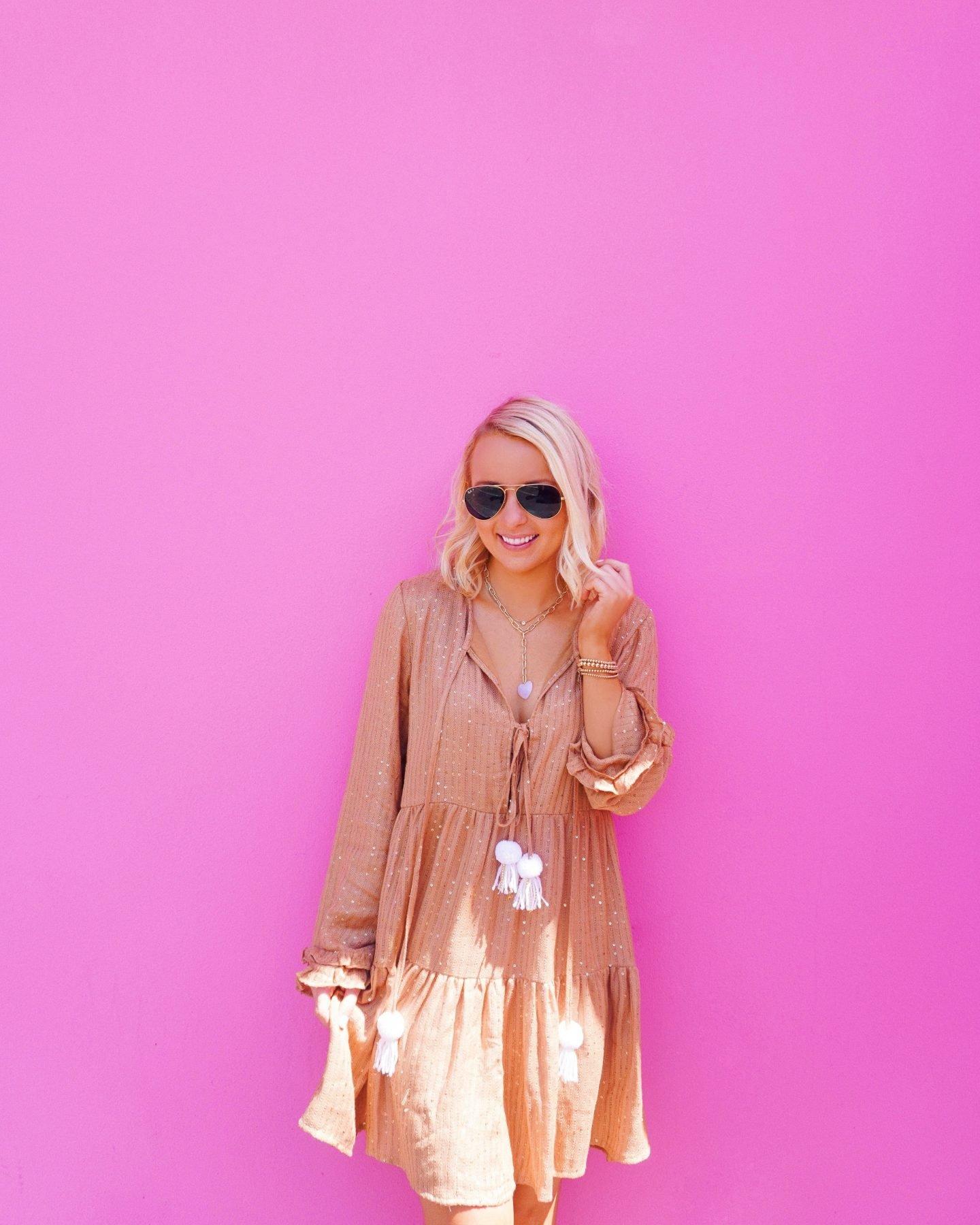 Shimmery pom pom dress with Sam Edelman classic nude heels