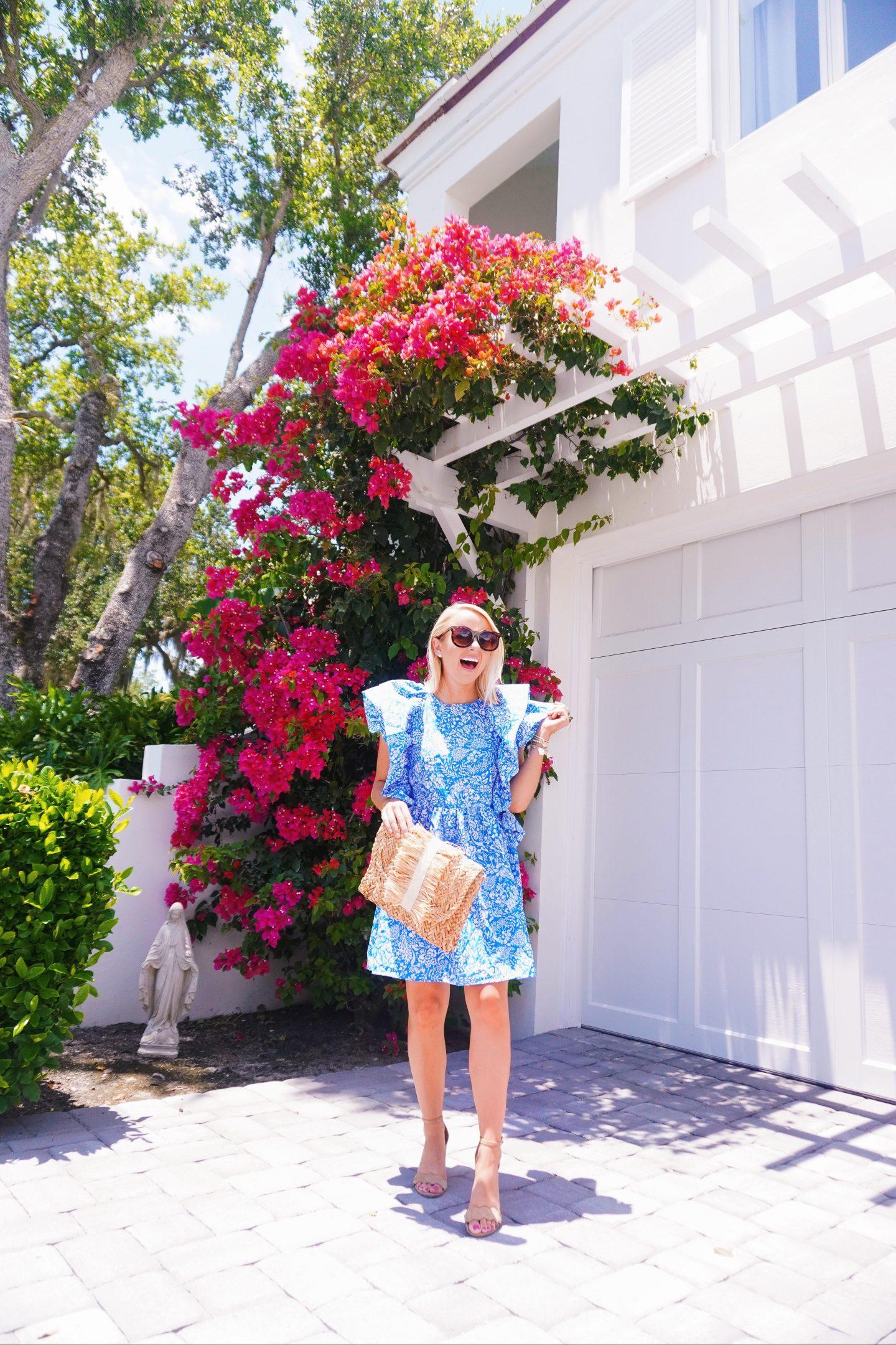 $20 ruffle puff sleeve floral dress