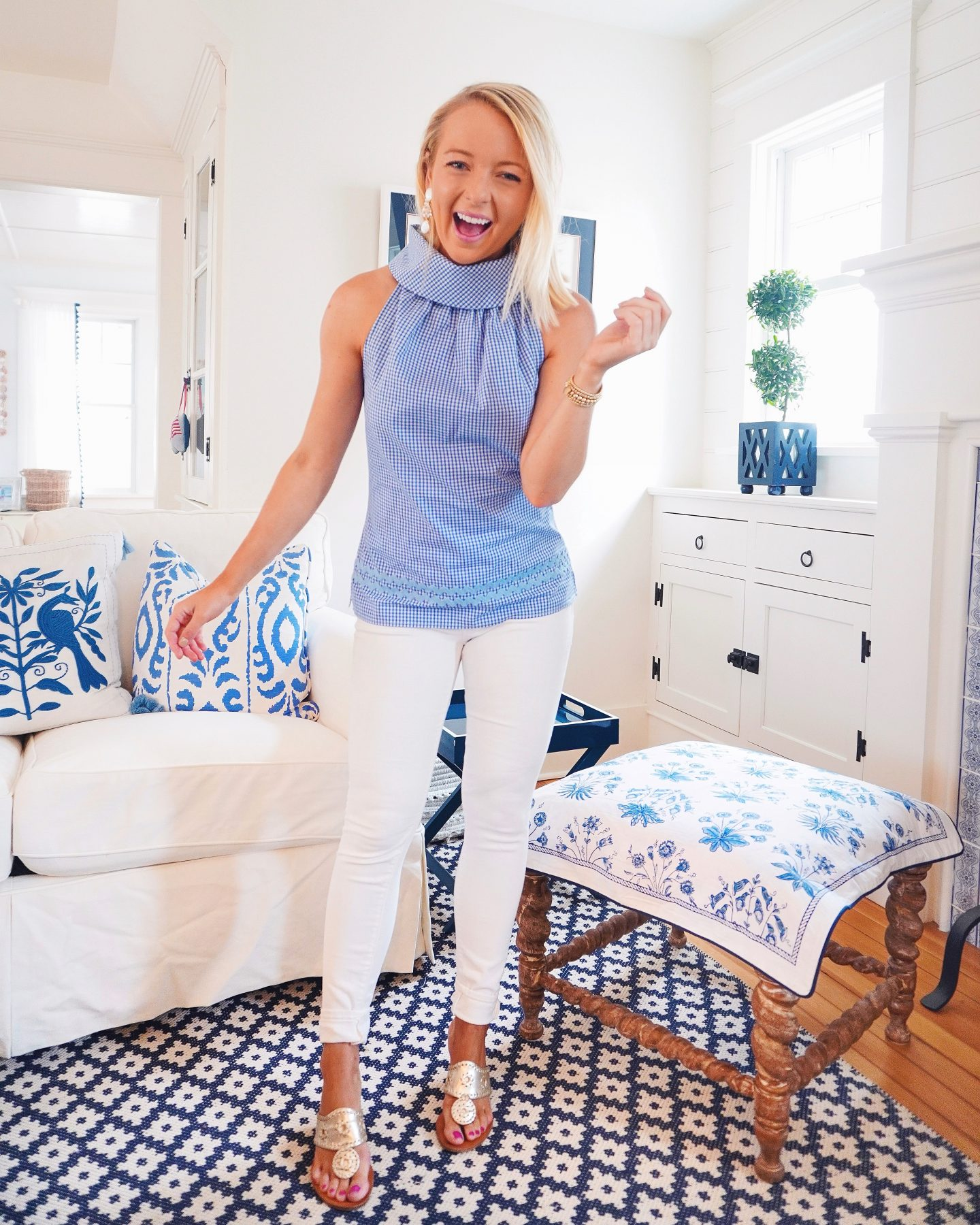 Sail to Sable blue and white gingham cowl neck top