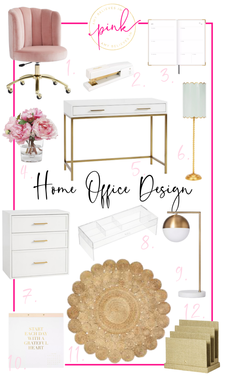 Chic white, blush, and gold home office decor