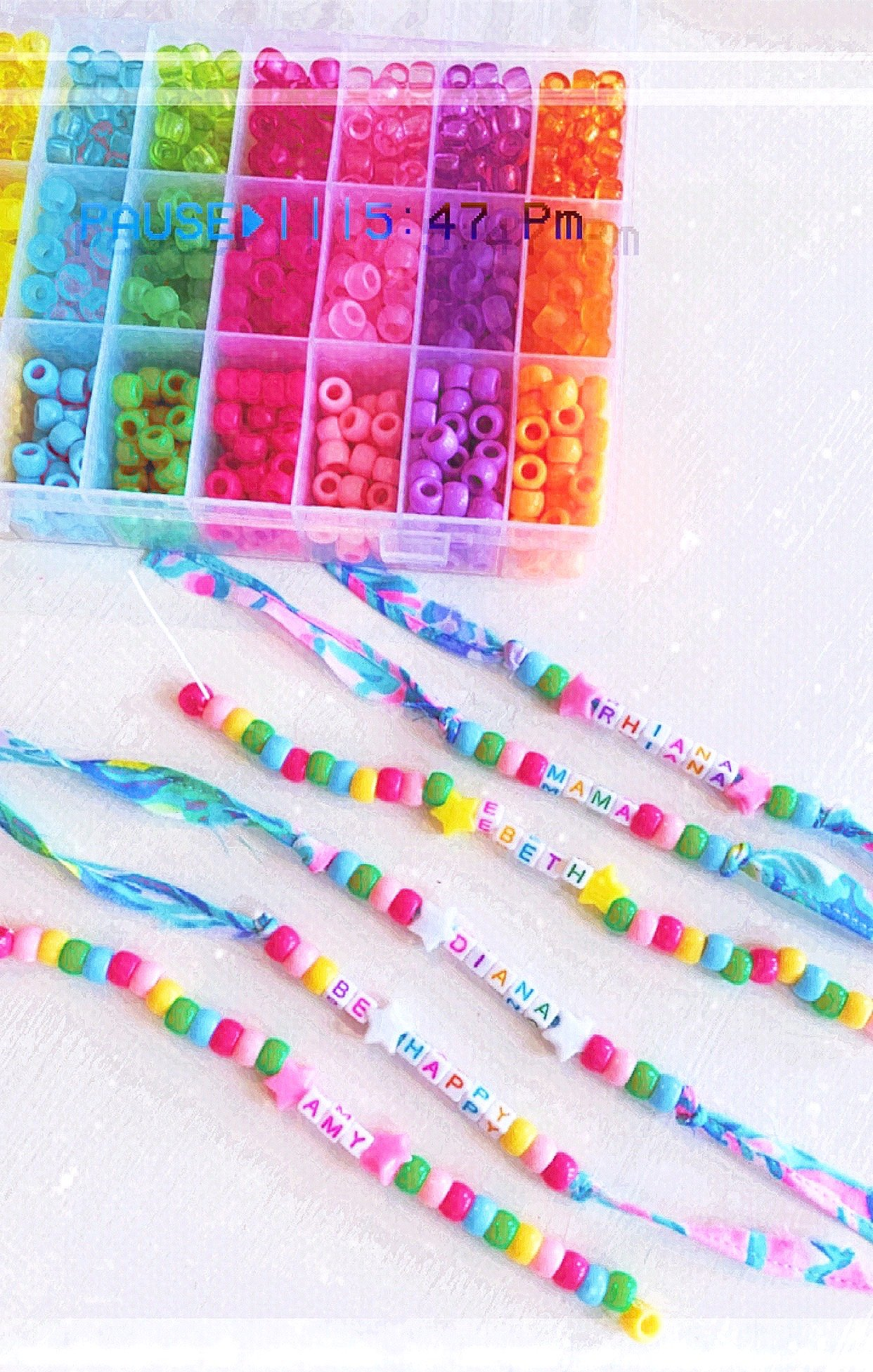 Making colorful beaded bracelets supplies