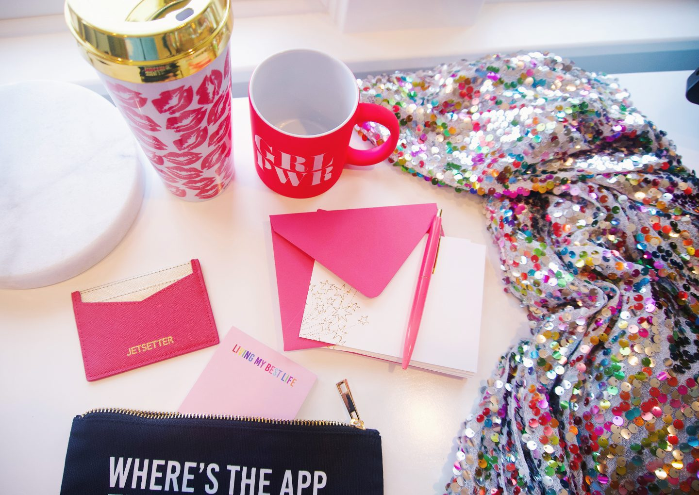 Effie's Paper Girl Power mug and sequin wrap dress