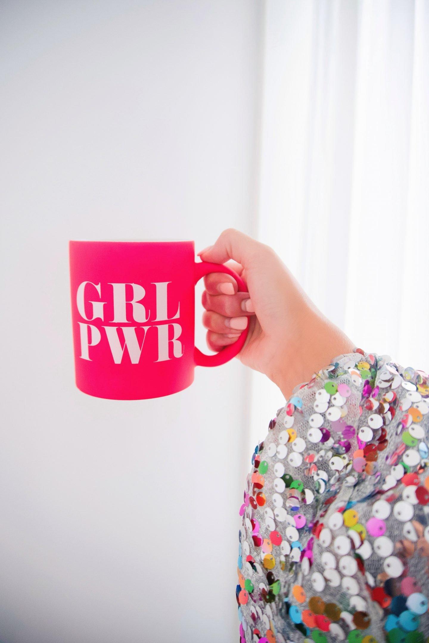 Effie's Paper Girl Power mug and sequin wrap dress