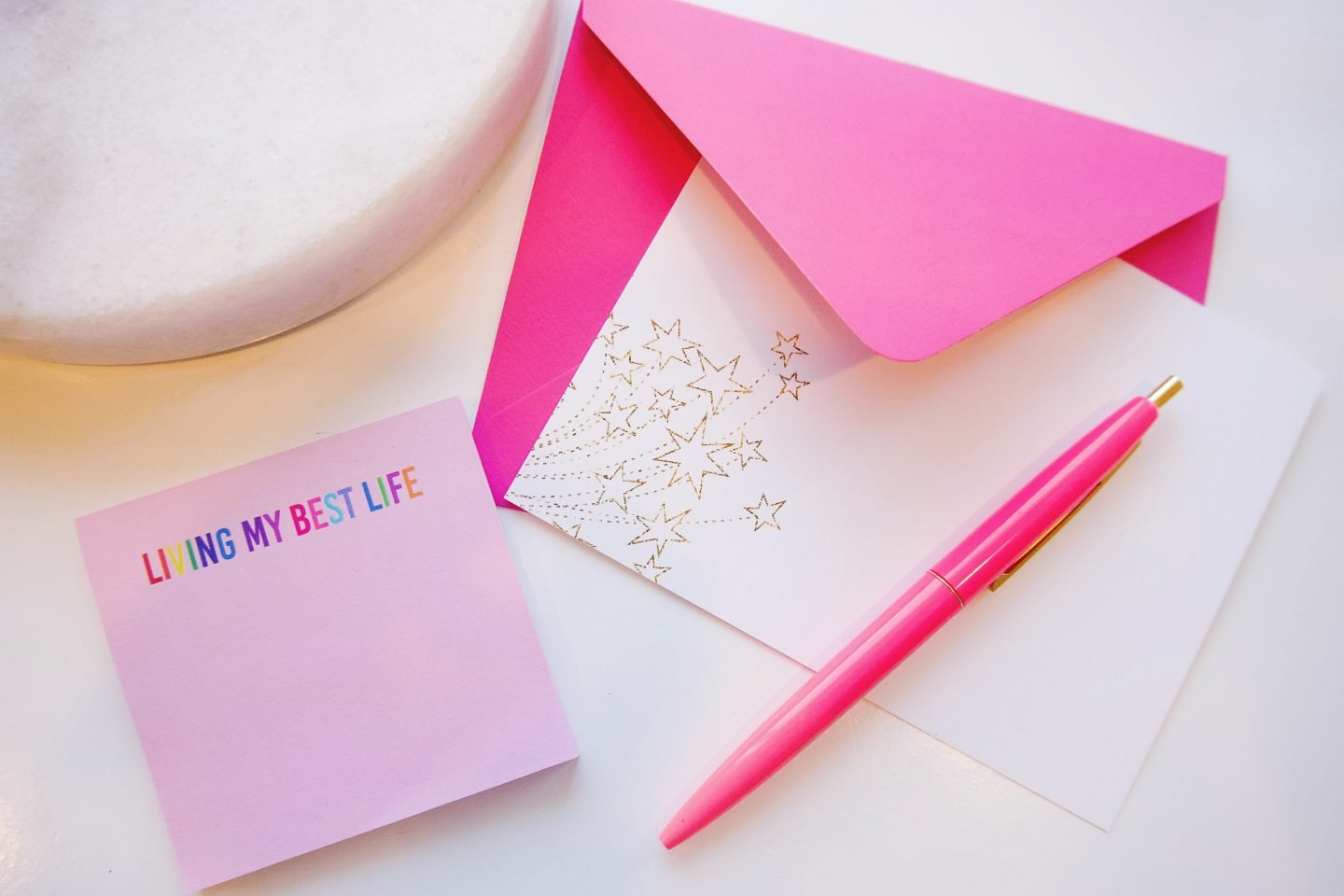Pink and gold star stationery