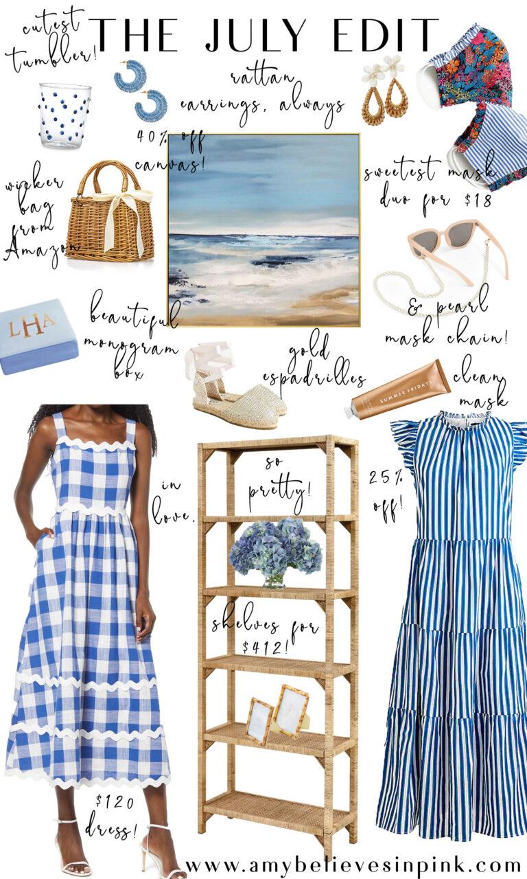 July blue and white buffalo check dress and rattan decor
