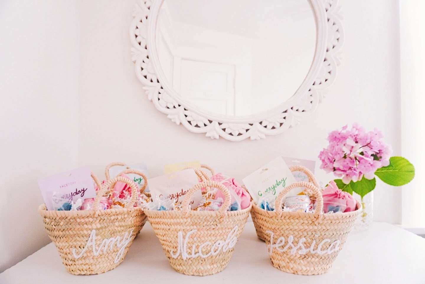 Cute beachy embroidered straw bag welcome baskets for your girlfriends