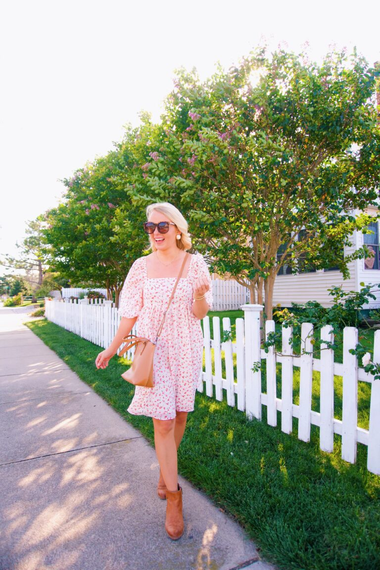 Fall floral transitional dress from Red Dress Boutique