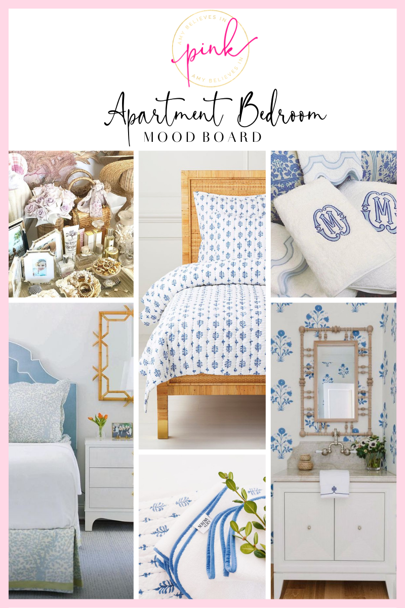 Blue, white, and rattan bedroom inspiration