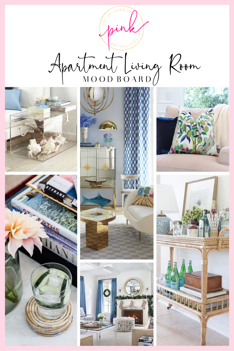 Blue, white, and green living room inspiration