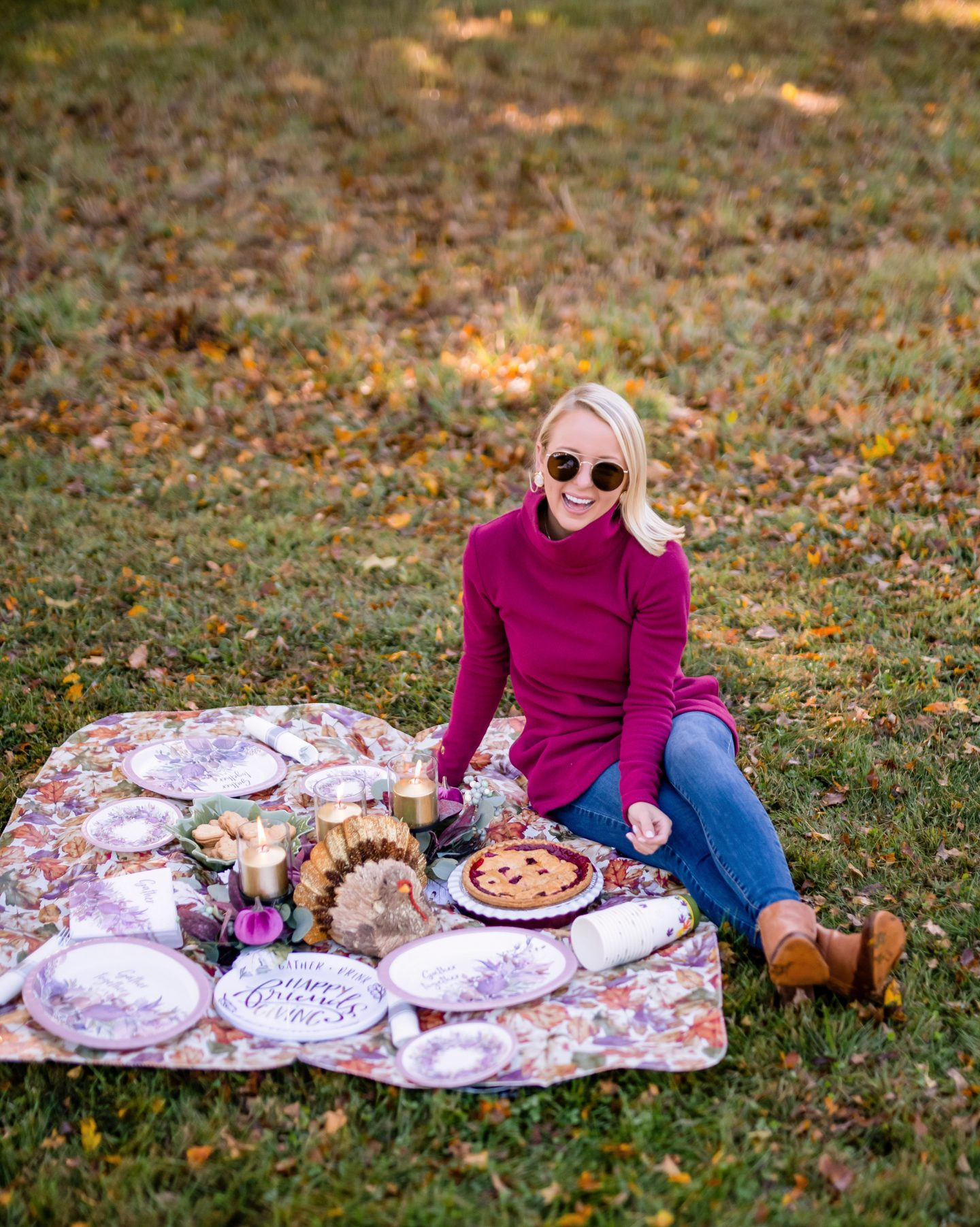 Friendsgiving picnic set up and decorations with Dudley Stephens fleece