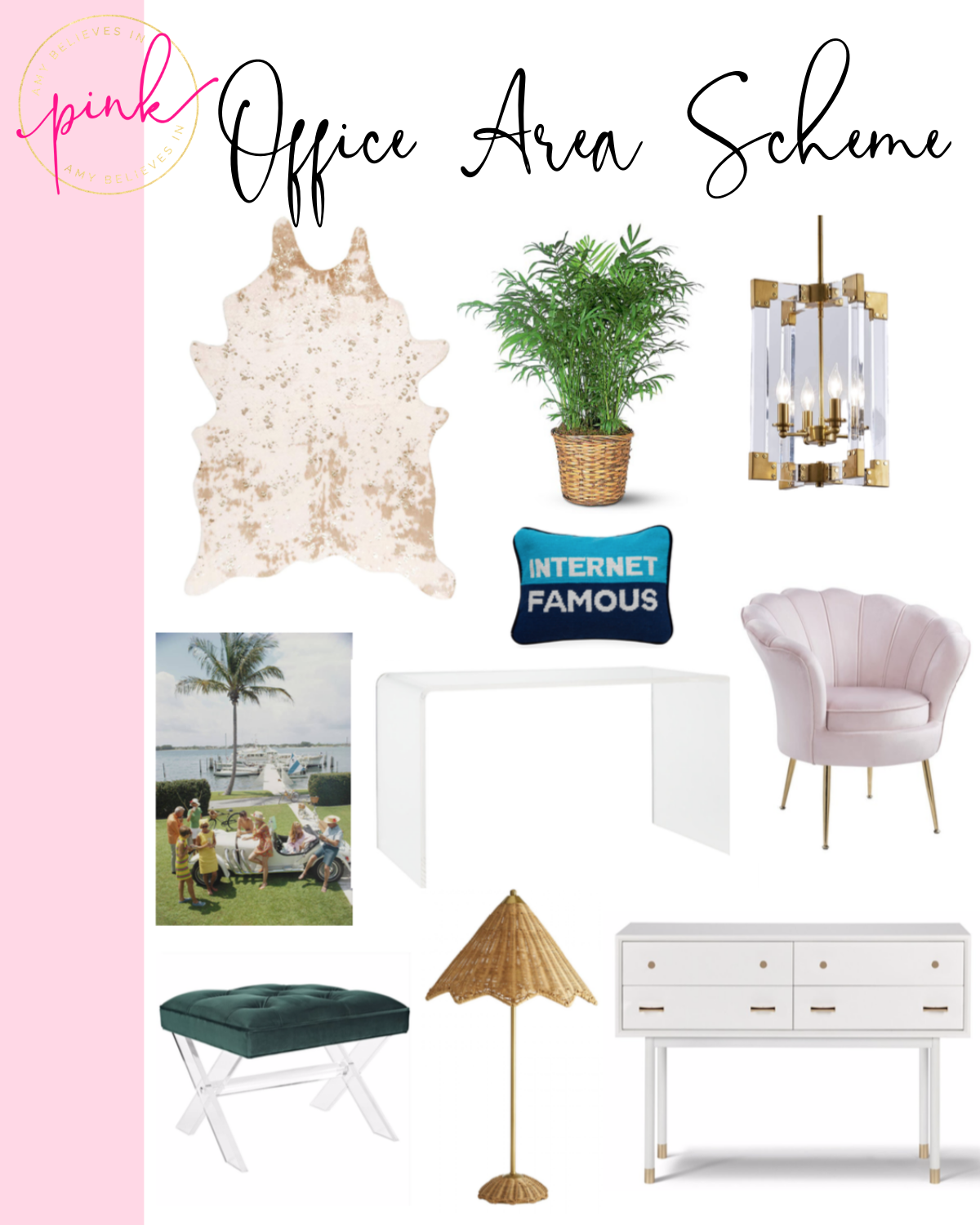 Blush pink, acrylic, and gold office design scheme