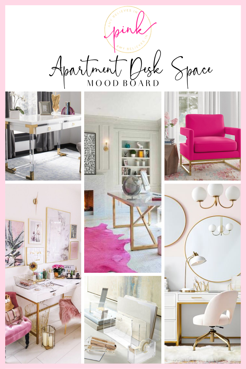 Pink, gold, and white apartment office
