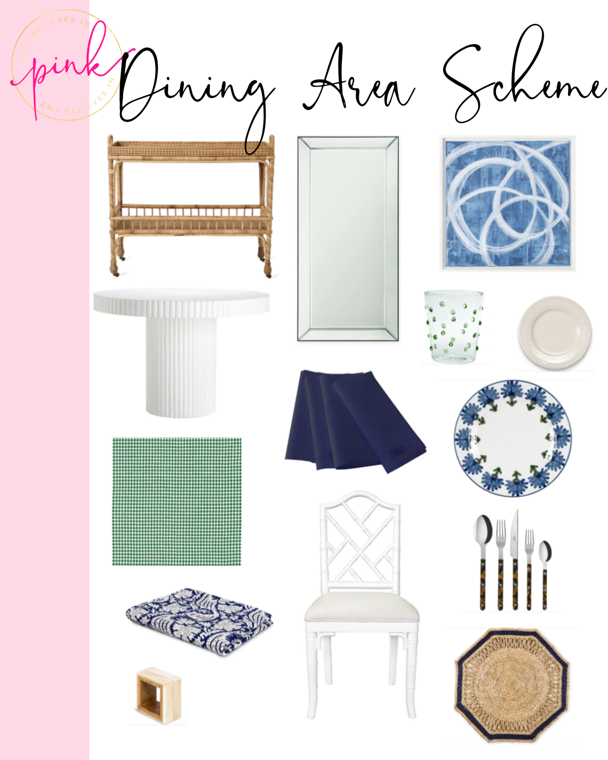 Blue, white, and green apartment dining area and rattan bar cart