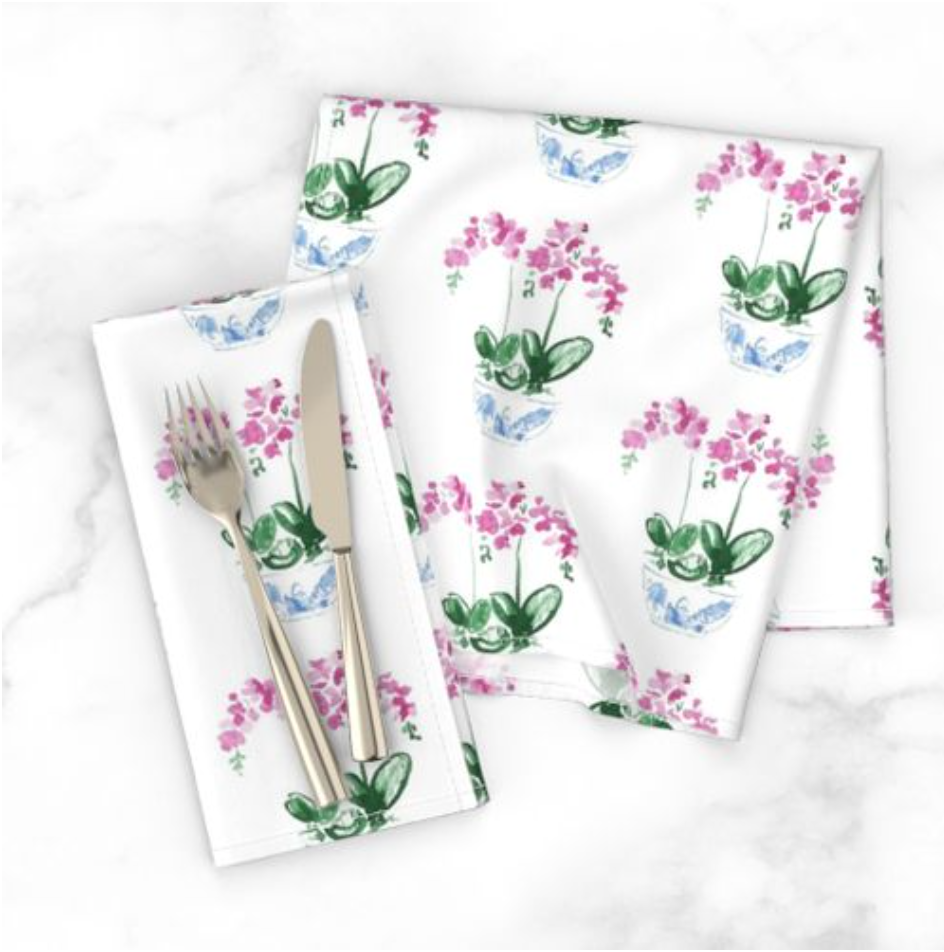 Watercolor orchid dinner napkins