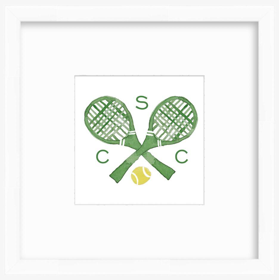 Personalized tennis racket watercolor print