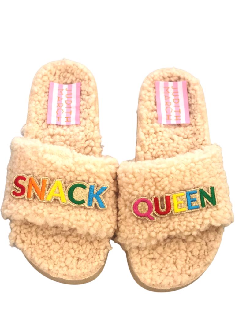 Snack queen fuzzy slippers