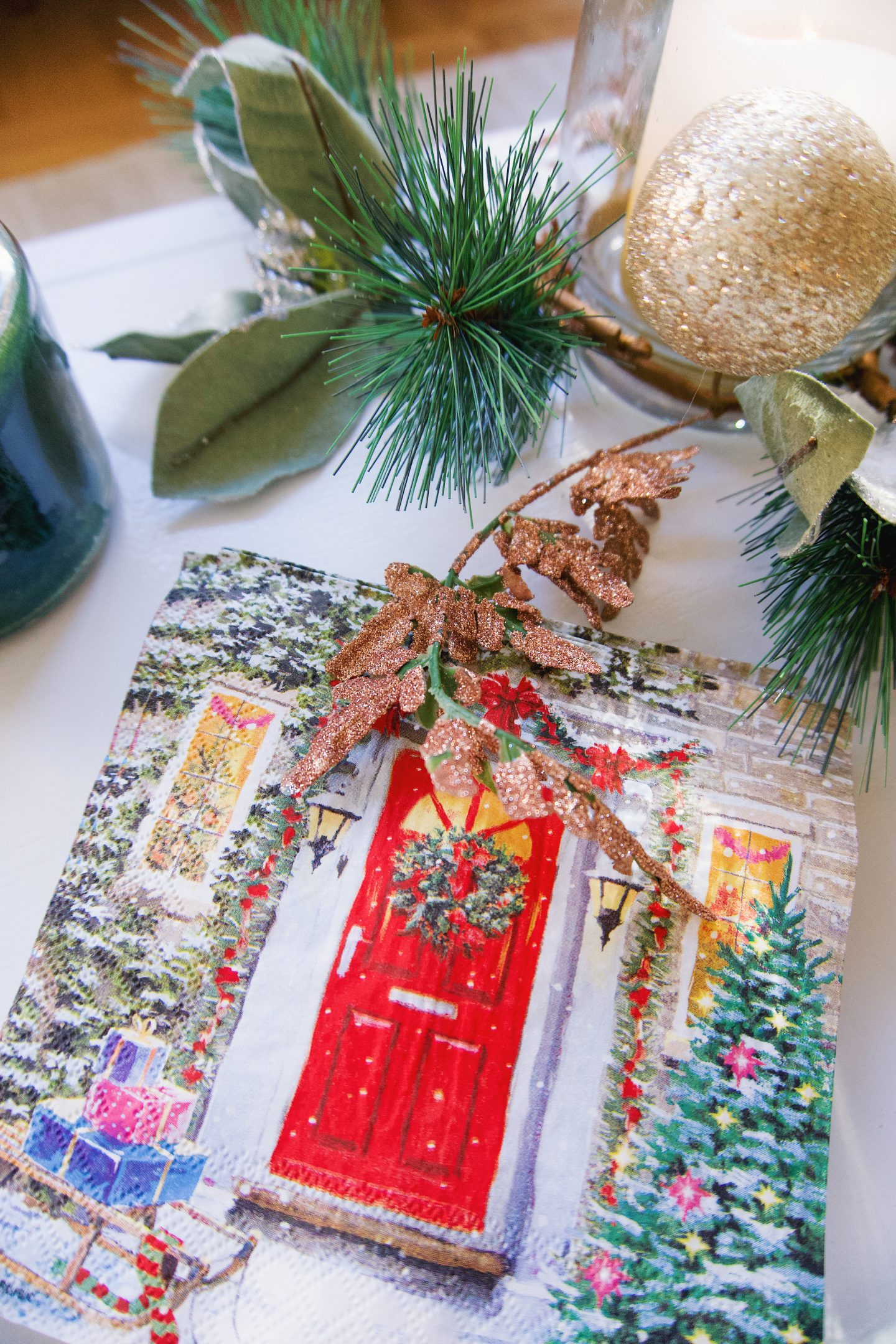 Forest green Christmas decorations with the Christmas Tree Shops