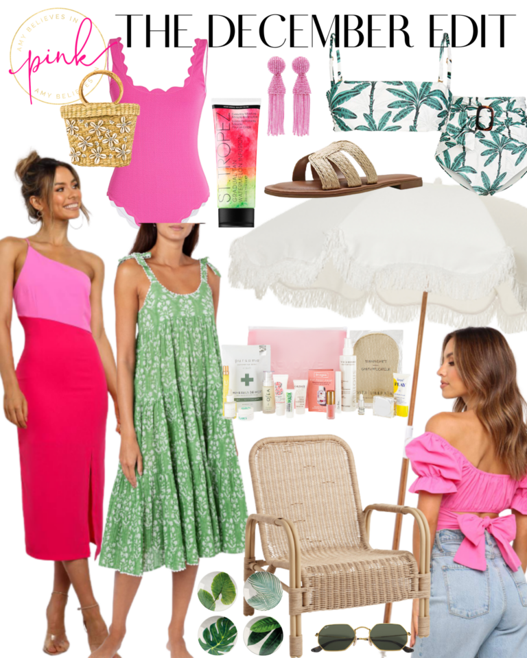 The December Edit pink and green resort wear
