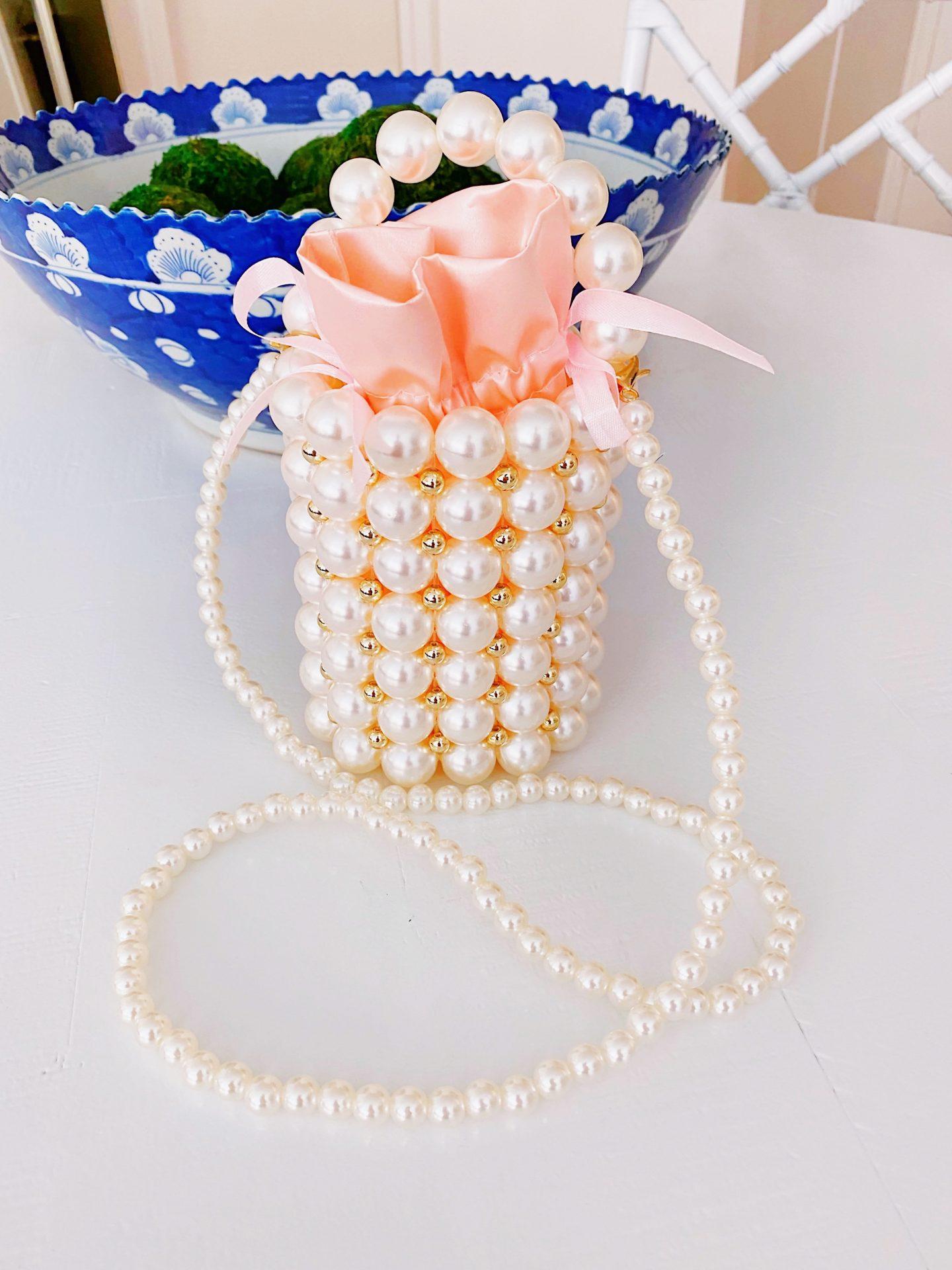 Amazon faux pearl bucket bag