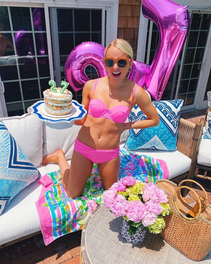 27th birthday pink Lilly Pulitzer swimsuit