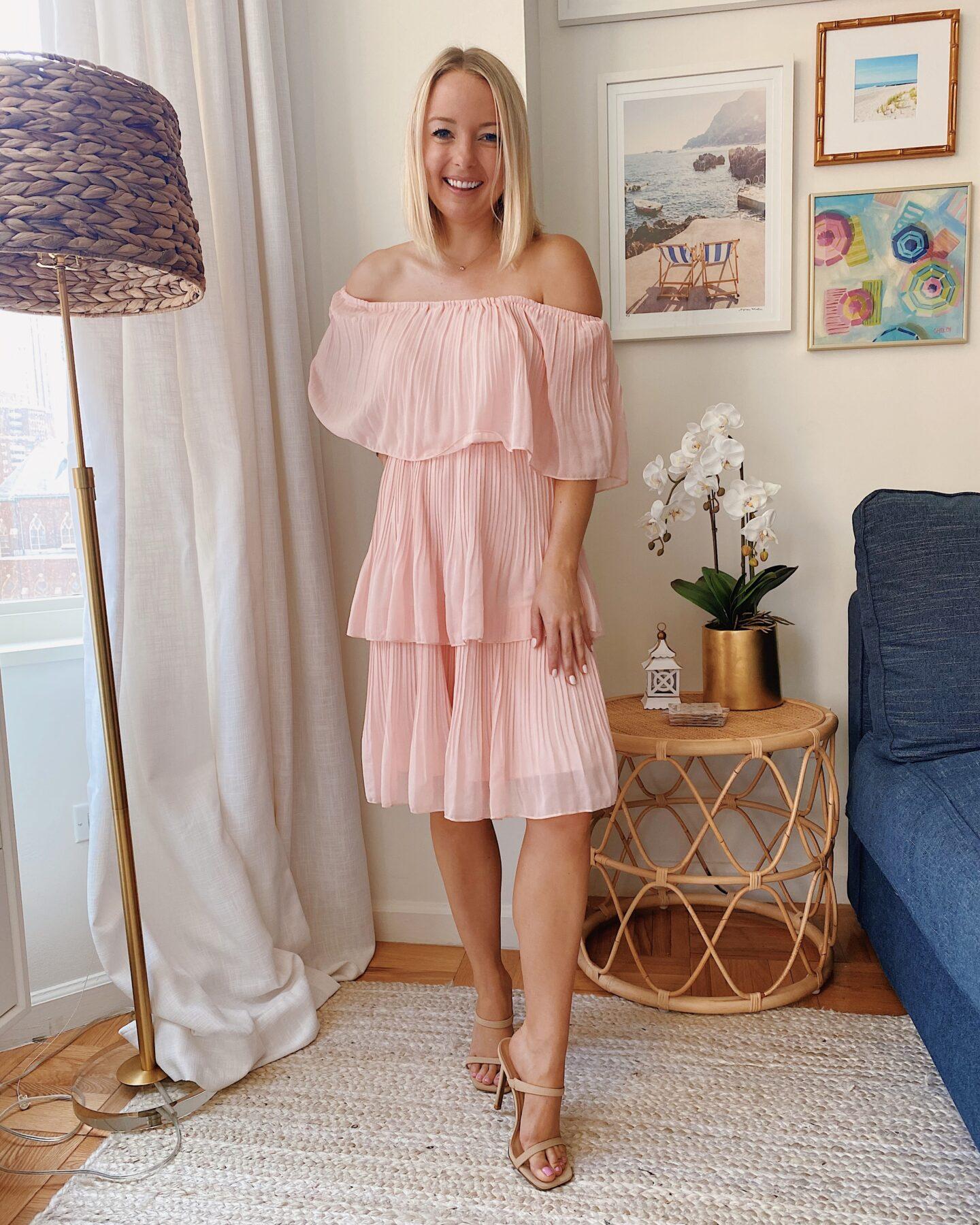 Off Shoulder Ruffle Pleated Dress