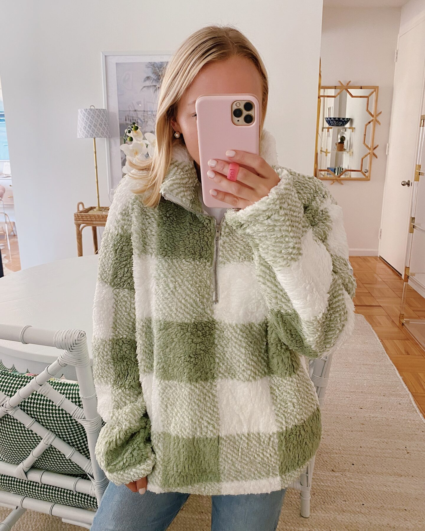 Plaid Sherpa Fleece Pullover