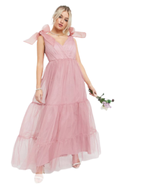 ASOS Petite Tulle Bow Tie Tiered Maxi Dress