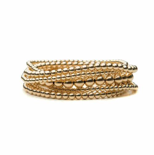 Annabelle's Collection Gold Beaded Bracelet Set