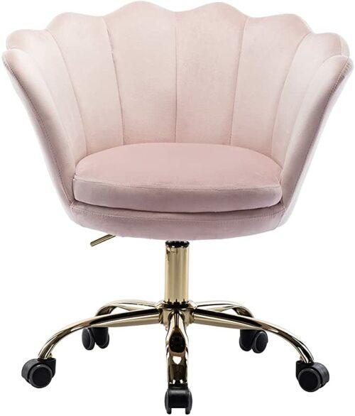 Blush Velvet Office Desk Chair